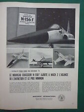 2/1959 PUB NORTHROP INTERNATIONAL N-156F USAF FIGHTER MACH 2 ORIGINAL FRENCH AD
