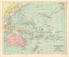 1891 VICTORIAN MAP ~ OCEANIA ~ PHILIPPINES POLYNESIA HAWAII AUSTRALIA JAPAN