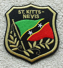 SAINT KITTS & NEVIS FLAG IN SHIELD PATCH Embroidered Badge 7cm x 8cm Caribbean