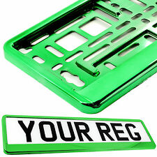CHROME GREEN Car Number Plate Surround Holder FOR ANY CAR TRUCK VAN TRAILER