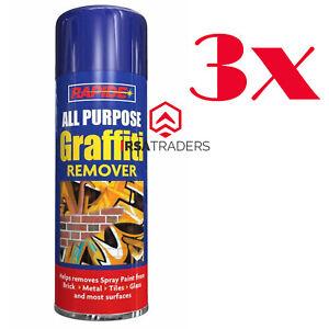 3 x 250ml Graffiti Remover Aerosol Can Chewing Gum Pen Spray Paint Metal Crayon