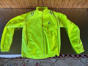 EUC high visibility yellow fleece cycling jacket Women's large very warm