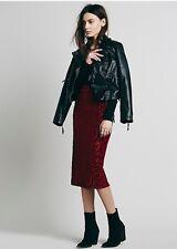 Free People Dolce Burnout Velvet Pencil Skirt Retails $98.00 Small Merlot