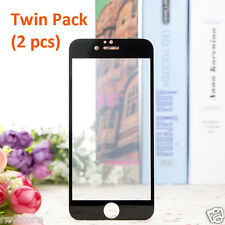 iPhone 7 Screen Protector Full Cover 9H Tempered Glass Twin Pack (Black)