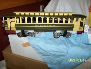 LIONEL MTH 11-2024-0 No.8 PAY AS YOU ENTER TROLLEY ~GREEN & CREAM~ NEW OLD STOCK