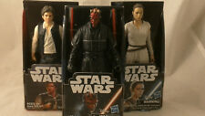 "Star Wars 5.5"" Action Figures, 3 Figure Lot, Darth Maul, Han Solo, Rey, NIP"