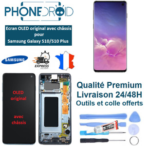 Écran complet LCD + Tactile Samsung Galaxy S10/S10 Plus OLED + Outils, stock FR
