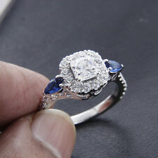 14k White Gold Over 1.5 ct Diamond and Blue Sapphire Engagement Ring For Womens