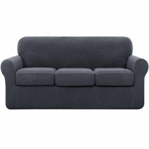 'Subrtex' Textured Grid Stretchy Four-Piece Sofa Slip Cover - Charcoal