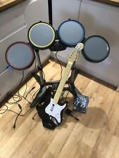 Playstation PS3 PS2 Rock Band Set Drums Stratocaster Guitar Dongle Mic Game