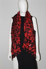 REVERSIBLE WOMENS PONCHOS Solid RED  /BLACK Textured  One Size