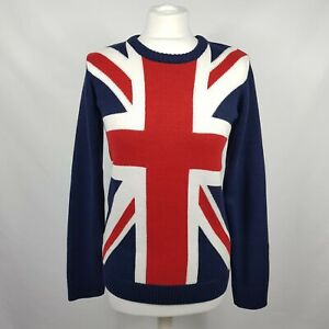 H&M Womens Union Jack Jumper UK 8-10 Navy Cotton Mix Long Sleeve England Flag