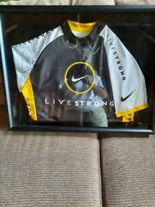 Framed Autographed Lance Armstrong Livestrong Shirt