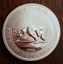 2013 1.5 Oz .9999 Fine Silver Silver Canadian Polar Bear Bullion Coin