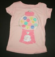 New Carter's Girls 2T Top Bubble Gum Machine Glitter Graphic Tee Pink Short Slee