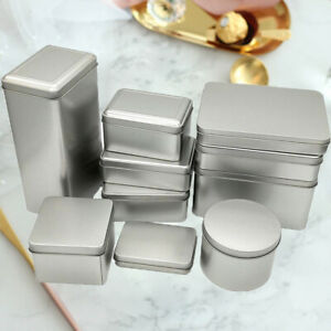 Tin Boxes Small Metal Storage Box Silver Jewelry Keys Coins Metal Box Container.