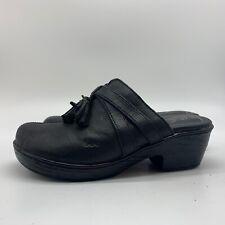 BORN BOC Women's Clog Black Leather Heels Open Back Shoes, Size 8M.