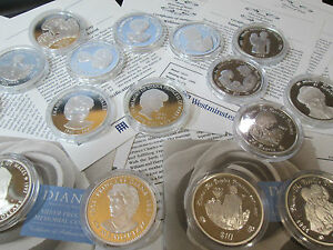 UK SILVER PROOF PRINCESS DIANA COINS VARIOUS £5 /CROWNS/RUPEES/ DOLLARS