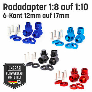 4x RC Radadapter, 6-Kant Alu-Felgenmitnehmer, 12 auf 17mm ,1/10 auf 1/8 rot blau