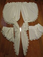 Vintage White Cotton Kitchen Cafe Curtains Valance Swag Tier Lace Embroidery Set
