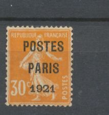 1921 Préo N°29 30c orange POSTE PARIS 1921 Léger Recto/verso. Signé CALVES N2008