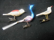 3 VINTAGE CHRISTMAS GLASS BIRD CLIP ON W/ FIBER TAIL ORNAMENTS HAND PAINTED  **