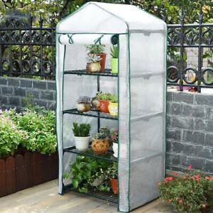 4 Tier Greenhouse Mini Walk In Grow Bag Garden Green House Reinforced PVC Cover