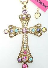 Betsey Johnson Necklace Mosaic Gold Cross Crystal Religious Stones Vary