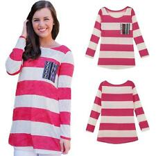 Blouse Cotton Unbranded Striped Tops & Shirts for Women