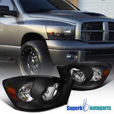 Dodge 06-08 Ram 1500 06-09 Ram 2500 3500 SRT-10 Style Pickup Black Headlights