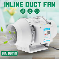 98mm 3.9'' Dia Air Inline Duct Fan Vent Mixed Flow Blower Hydroponic Ventilation