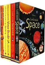 Look Inside Collection 5 Books Set Space Farm Science Food Your Body Board Books