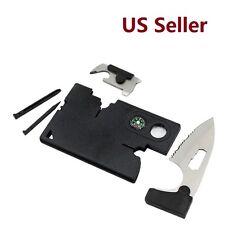 Tool Credit Card Companion 9 Tools Black Opener Compass Ruler Serrated blade