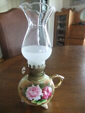 VINTAGE JAPAN PORCELAIN MINITURE  MINI OIL LAMP W/ROSE DESIGN ENESCO E3317