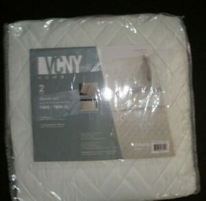 VCNY Home White 2 Piece Twin/Twin XL Duvet Cover Set Lattice Embossed NEW