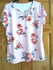 pink floral v-neck top casual top XL / size 14