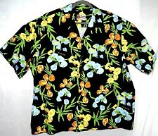 1cf4b288 Hilo Hattie Mens Black Floral Leaves Aloha Shirt Button Up Cal Nev Ha 2XL