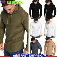 Men Muscle Pleated Long Sleeve Tops Round Neck Slim Fit Hoodie T-Shirt Blouse US