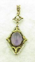"""Antique Victorian 10k Gold Amethyst Seed Pearl Lavalier Necklace Pendant 1 3/4"""""""