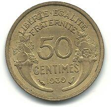 VERY NICE HIGH GRADE AU 1939 FRANCE 50 CENTIMES COIN-DEC139