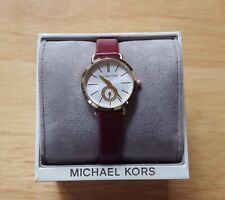Michael Kors Women's Petite Portia Merlot Leather Watch MK2751 With Tag and Box