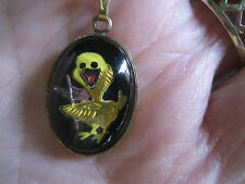 carved painted playing a violin.Necklace Duck Vintage glass intaglio Reverse