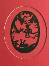 Paper Cut Silhouette Elves Hobbits Double Matted Professionally Framed Picture