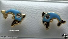 14K Gold CuteBlue Dolphin CHILDREN Earrings SCREW BACKS