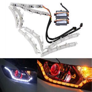 2X Car Dual Colors DRL LED Strip Light Turn Signal Lamp DIY Deformable Plug&Play