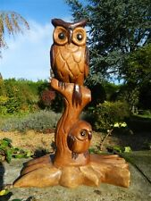 Wooden Owl Carving - Mother and Baby Owl on Tree