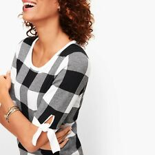 TALBOTS - TIE SLEEVE GINGHAM SWEATER - BLACK/WHITE - MISSES SIZE L
