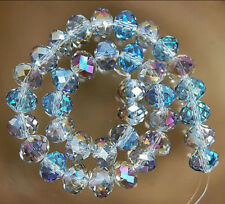 100pc 4X6MM Multicolor AB Crystal Faceted Gems Rondelle Loose Beads