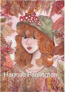 Print by Hannah Penlington, Autumn Witch, children art, fantasy story painting