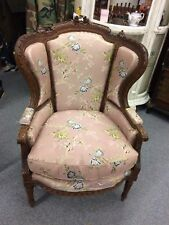 Antique French Victorian Carved Walnut Bergere Chair 1900